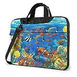 Laptop Notebook PC Bolsa de Hombro-Ocean Tropical Fish Coral Undersea World Portátil PC Mochila de Hombro Bolsa Maletín Messenger con Correa 15.6 ″