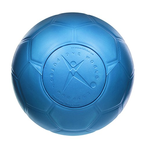 One World Play Project Soccer Ball - Unpoppable, Unbreakable, Non-Deflating, Non-Toxic Futbol - Blue, Size 4