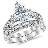 1.73 Carat t.w. Platinum Marquise Three Stone Vintage with Milgrain & Filigree Bridal Set with...