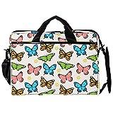 Bolsa unisex para ordenador o tableta, ligera para portátil, bolsa de viaje de lona, 13.4-14.5 pulgadas con hebillas, colección mariposas