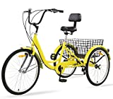 Sibosen Adult Tricycles 7 Speed 26 Inch Three Wheel Bike Cruiser Tricycle Featuring Low-Step Through Frame/Large Basket/Backrest Saddle for Men Women Seniors (Yellow, 26' Wheel / 7-Speed)