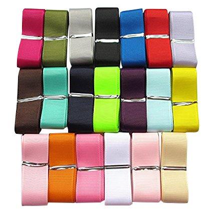 """20 Yards Grosgrain Ribbon Total 20 Colors Mix Lots Bulk (1"""""""
