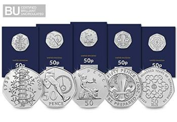 Change Checker 50th Anniversary of the 50p CERTIFIED BU Coin Set