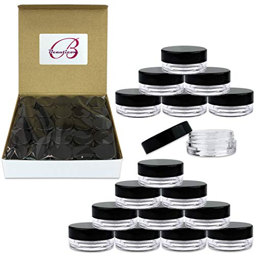 (100 Pcs) Beauticom 3G/3ML Round Clear Jars with Black Lids for Scrubs, Oils, Salves, Creams, Lotions - BPA Free