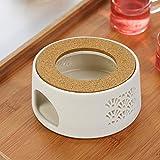 Stövchen Teekannen, Die Heizung Besteht Keramik und Ringwand ist Hohl Fächerförmigen Design Mit Korkmatte, Retro Teelichthalter, für die Wärmeerhaltung von Tee und Kaffee Geeignet
