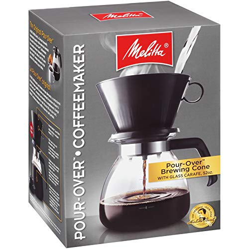 Melitta 52 oz. Pour Over Coffee Brewer with Glass Carafe, Black
