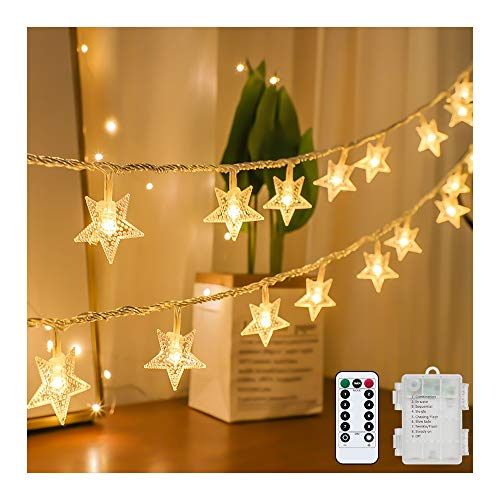 Tasodin Star String Lights Battery Operated Waterproof 40 LED 20 FT Star Fairy String Lights with Remote Control...