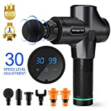 Massage Gun Deep Tissue Percussion Muscle Massager for Pain Relief, Handheld Electric Body Massager Sports Drill Portable Super Quiet Brushless Motor (Black)