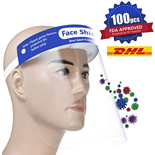 【FDA Approved】100PCS Plastic Face Shield Protect Eyes and Face with Full Protective Clear Film Elastic Band and Comfort Sponge Dental Face Shield for Men Women