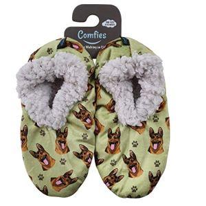 Comfies Womens German Shepherd Dog Slippers – Sherpa Lined Animal Print Booties