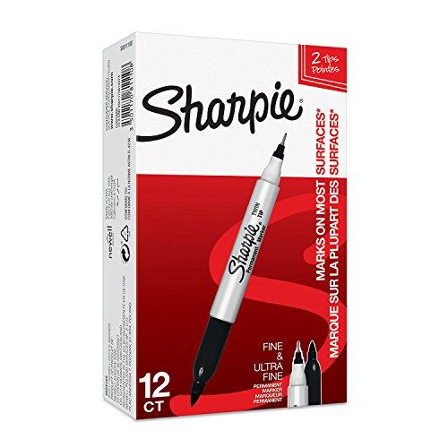 Sharpie (S0811100) Pennarelli indelebili a doppia punta, confezione da 12, nero