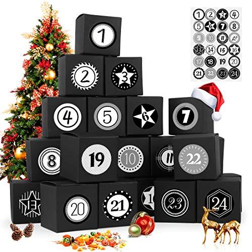 Calendario Dell'avvento, 24 Avvento Calendario Avvento da Riempire, con Adesivi Numerici, Avvento Calendario, Calendario Avvento Fai da Te, Natale Avvento Calendario Avvento da Riempire (Noir)