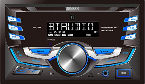 JENSEN MPR529 Double DIN Car Stereo Receiver with 7 Character LCD Built-in Bluetooth/MP3/USB