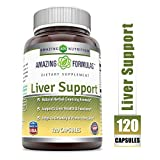 Amazing Formulas Liver Support 120 Capsules(Non-GMO,Gluten Free) Natural Herbal Cleansing Formulas *Supports Liver Health & Function *Helps Detoxify & Protect Liver