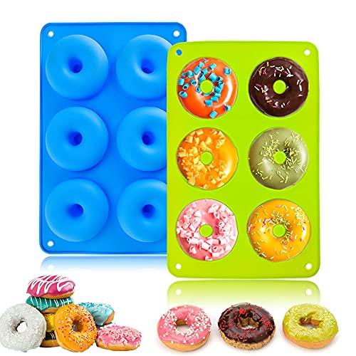 LUKIUP® Molde para Donut de Silicona, Juego de 2 Moldes de Silicona para Hacer Donuts, 6 Cavidades Antiadherentes, de Silicona, Bandeja para Hornear Rosquillas, Magdalenas, Bagels (Azul + Verde)