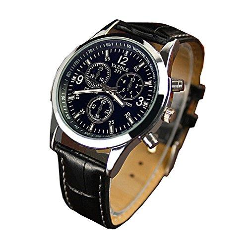 Chianrliu - Orologio con cinturino in ecopelle, vetro Blue Ray, al quarzo, analogico, da uomo, nero