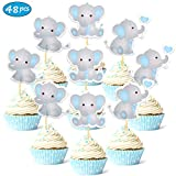 Faisichocalato 48pcs Blue Elephant Cupcake Toppers It is A Boy Baby Shower Cupcake Picks Decoration Baby Boy Birthday Party Supplies