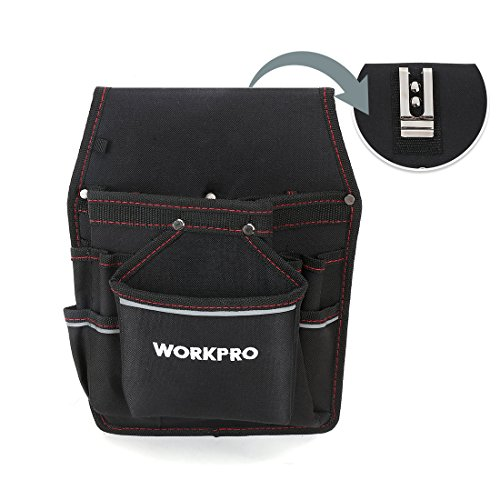 WORKPRO Maintenance Tool Pouch, 11 Pockets, Professional Electrician's Belt Tool Holder with Reflective Strips, Organizer for Tools, Flashlights, Keys (Tools Excluded)
