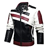 Cbyezy Stand-up collar men's motorcycle leather motorcycle racing suit color-blocking PU simulation leather jacket (Red, XL)