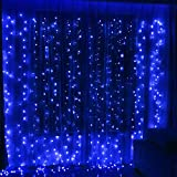 Twinkle Star 300 LED Window Curtain String Light for Christmas Wedding Party Home Garden Bedroom Outdoor Indoor Wall Decoration(Blue)