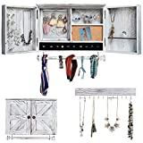 Rustic Jewelry Organizer with Wooden Barndoor for Home Decor | Wooden Wall Mount Holder for Necklaces, Bracelets, Earrings, Ring Holder, and Accessories | Hanging Jewelry Box includes Hook Organizer