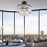 Flush Mount Crystal Chandelier Modern/Contemporary Ceiling Light Pendant Light for Dining Room, Living Room (6 Lights-Flush Mount)