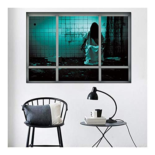 JHWSX Halloween Fake Window Wall Sticker, True to Life Wall Decals Decoration for Ghost House and Horror Themed Parties Tools