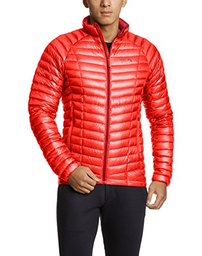 Mountain Hardwear Mens Ghost Whisperer Insulated Down Water Repellent Jacket, Non-Hooded - Cherrybomb - XXL