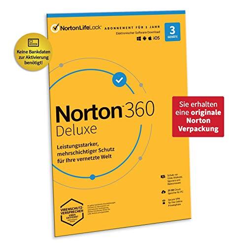 Norton 360 Deluxe 2021 | 3 Geräte | Antivirus | Unlimited Secure VPN und Passwort-Manager | 1 Jahr | PC/Mac/Android/iOS | Aktivierungscode in Originalverpackung