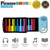 PicassoTiles PT49 Kid's 49-Key Flexible Roll-Up Educational Electronic Digital Music Piano Keyboard w/ Recording Feature, 8 Different Tones, 6 Educational Demo Songs & Build-in Speaker - Rainbow
