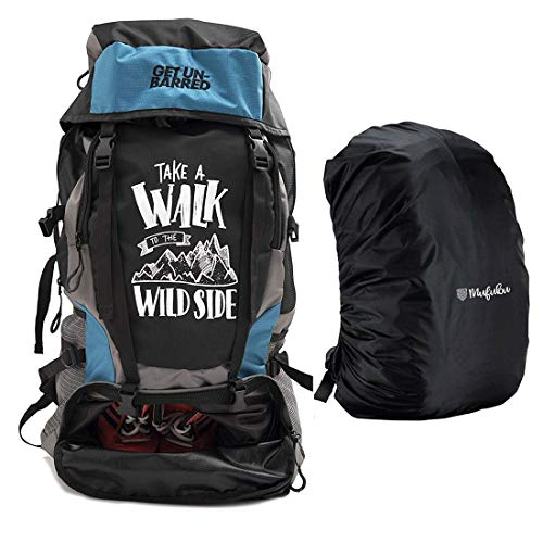 Mufubu Presents Get Unbarred 55 LTR Rucksack for Trekking, Hiking with Shoe Compartment (Blue &...