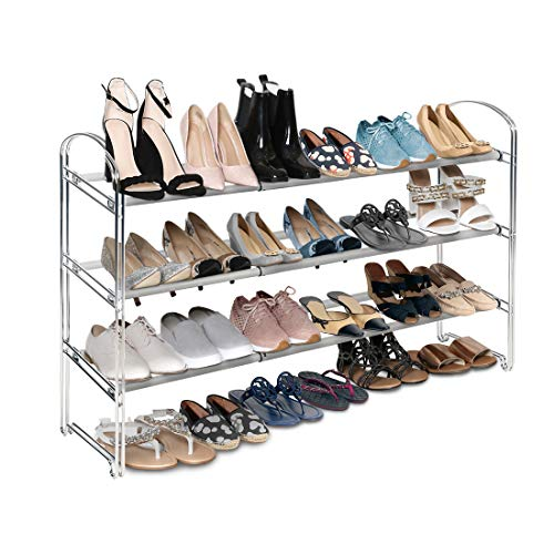 Seville Classics 3-Tier Expandable 24-Pair Shoe Rack Non-Slip Metal Freestanding Closet, Entryway, Bedroom Footwear...