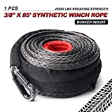 BUNKER INDUST Synthetic Winch Rope 3/8' x 85', 25000 Ibs Winch Cable Line with Protective Sleeve for 4WD Off Road Jeep ATV UTV SUV Truck Boat,1 Pcs Black Winch Rope Extension