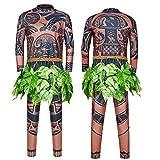 Maui Tattoo Clothing/Maui Suit/Mens Maui Costume ,Moana Maui Costume Halloween Adult Maui Men's Cosplay Costume (XL, Brown)