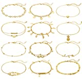 12Pcs Anklets for Women Silver Gold Ankle Bracelets Set Boho Layered Beach Adjustable Chain Anklet...