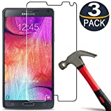[3 Pack] Galaxy Note 4 Screen Protector [9H Hardness] Tempered Glass [Ultra Clear][Anti Scratch][Bubble Free] Glass Screen Protector for Samsung Galaxy Note 4