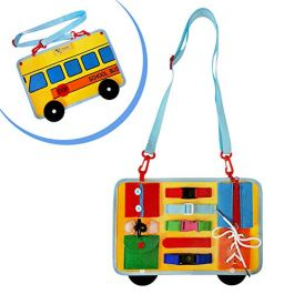 Toddler Busy Board |School Bus Style | Pre-School Educational Development Toy | Montessori Skill Activity Board | Portable | Comes with Zip, Lace, Shirt Buttons, Velcro, & More | Gift for Toddlers