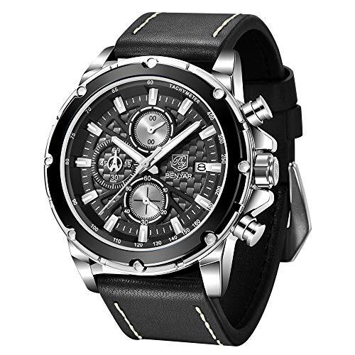 Watches for Men BENYAR Chronograph Waterproof Analog Display Quartz Movement Leather Strap Wrist Watch Date Fashion Gift for Men