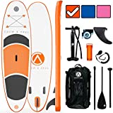 """Crew Axel Inflatable Stand Up Paddle Board (6"""" Inch Thick) Non Slip SUP W Premium Backpack, 3 Fins, Paddle, Pump, & Leash –Large (10' x 30"""" x 6"""") Light Weight (17lb) Wide Stance Kids & Adults (Orange)"""