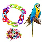 Creacom ペット用品 噛む玩具 インコ オウム 鳥 おもちゃ DIY チェーン プラスチック 100個 鳥用品 オウムおもちゃ Cクリップ ストレス解消 遊び 知育訓練 吊り下げ かご装飾 カラフル 楽しい