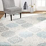 Home Dynamix Boho Andorra Bohemian Area Rug, Transitional Gray/Aqua/Ivory 5'2'x7'2' (HD7585-705)