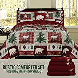 HowPlum Bear Lodge Elk Rustic King Comforter 8 Piece Bedding and Deer Sheet Set Cabin Hunting Bed in a Bag
