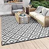 MontVoo Outdoor Rugs for Patios Clearance 6' x 9' Reversible Easy Cleaning Patio Rug Portable Comfortable Woven Outdoor Carpet for RV Camping Patio Deck Garden Picnic Grey and White