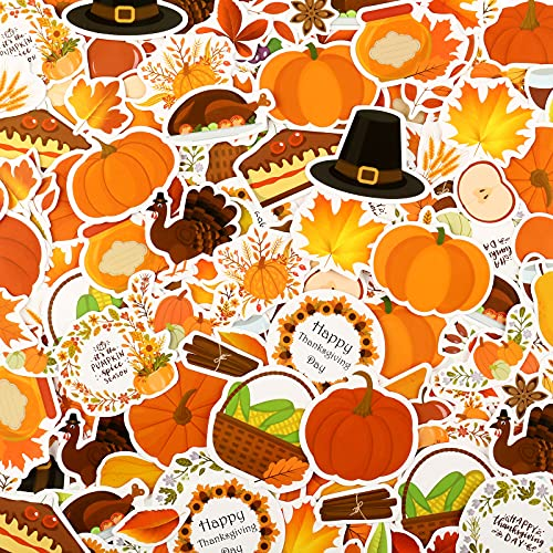 200 Pieces Pumpkin Fall Stickers 50 Styles Thanksgiving Stickers Waterproof Decals Autumn Vintage Maple Leaves for Laptops Phones Water Bottles Cute Shaped Stickers