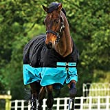 Hoseware Mio Lite,Lightweight Horse Rug,Black/Turquoise,6'3 by Horseware