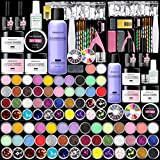 Morovan Acrylic Nail Kit - 42 Colors Glitter Acrylic Nail Powder Monomer Acrylic Nail Liquid Set Nail Tips Acrylic Powder System for Nail Extension and Decoration 3D Manicure DIY Acrylic Nails