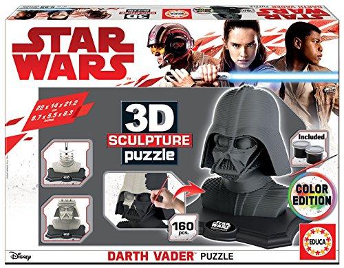 Educa - 3D Sculpture Puzzle Star Wars Darth Vader, Montar y pintar, Incluye pinturas y pincel, +6 años (17334)