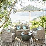COSIEST 5-Piece Propane Half-Sphere Fire Bowl Outdoor Furniture Sofa, Warm Gray Wicker Conversation Set, 4 Throw Pillows w 30-inch Dark Green Fire Pit Table (40,000 BTU), Tank Cover