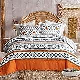 FlySheep 3 Piece Bohemian Orange Comforter Set King Size, Tribal Geometric Bedding Set for All Season, Ultra Soft Microfiber Reversible Comforter + 2 Pillow Shams