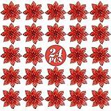 FLOFIA 24 Flores Navidad Artificiales Navideas Rojas Flor de Pascua Navidad Poinsettia Brillante Artificial con Purpurina Adorno de rbol de Navidad DIY Guirnalda Corona Decorativa